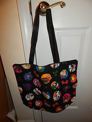 1993 VINTAGE LOONEY TUNES Tote Bag Canvas Holiday Mischief Warner Bros.