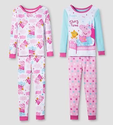 Peppa Pig Girl's Pajamas 2 PAIR NWT Long Sleeve 3 4 5 T Story Time Snug Fit