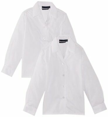 bianco S BLUE MAX BANNER REVERE TWIN PACK LONG LEEVE CHOOL CAMICIA PER BAMBINE E