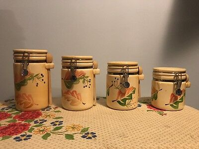 Set Of 4 Yellow Ceramic Canisters W/ An Autumn/fall Leaf Pattern Metro Marketing