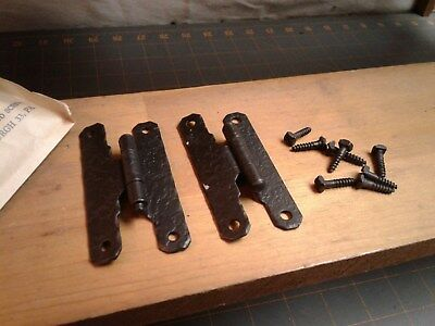 """4 Pairs Forged Iron H HINGES 3/8"""" Lipped Door DB NOS 12724 DB McKinney"""