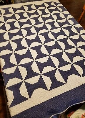 """Vintage 19th Century Small Quilt Blue and Off White, 65 x 68"""""""