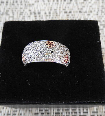 Sanrio Hello Kitty Diamonique Pave Sterling Silver 14K Accented Band Ring Sz 8