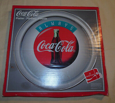 "Vintage 1994 Always Coca Cola Glass Plate Round 14"" Platter Dish New In Box Rare"