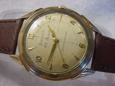 Vintage GOLD FD large antique Art Deco 23J 23 JEWELS BULOVA AUTOMATIC watch NR
