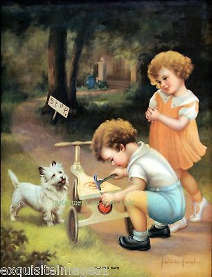 Victorian Children~Cairn Terrier Dog~ NEW Lg Note Cards
