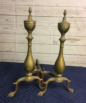 "Vintage PURITAN Solid Brass Andirons Firedogs 19.5"" Tall~L@@K~"