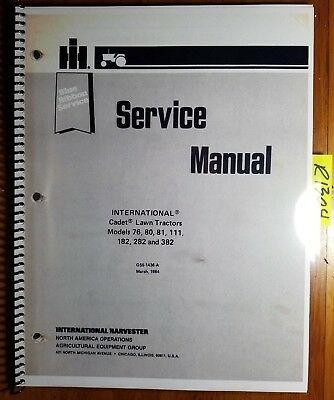 Set ih cub cadet 182 282 382 lawn tractor service repair manual shop ih international cadet 76 80 81 111 182 282 382 lawn tractor service manual 3 fandeluxe Image collections