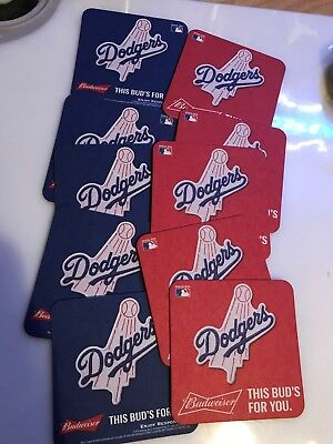 BEER COASTERS lot of 10 brand new Budweiser Dodgers 2-sided man cave