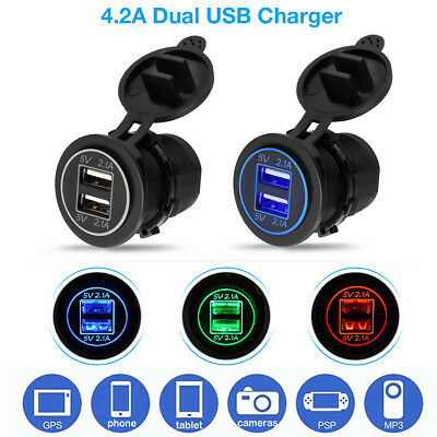 12V LED Car Cigarette Lighter Socket Splitter Dual USB Charger Power Adapter