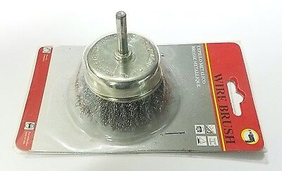 "3"" Wire Brush Cup with 1/4"" Shank Deburr Remove Rust Crimped Power Drill NEW"