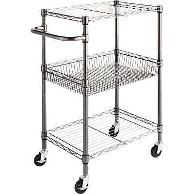 "Alera 3-Tier Wire Rolling Cart 24"" x 16"" x 39"" Black Anthracite"