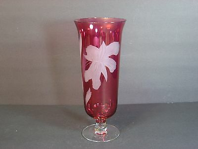"""Bohemian Cranberry Glass Stain Etched Footed Vase 10"""" Large Iris Flower Gorgeous"""