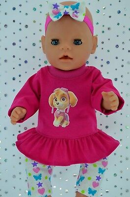 """Play n Wear Doll Clothes To Fit 17"""" Baby Born PATTERN LEGGINGS~TOP~HEADBAND"""