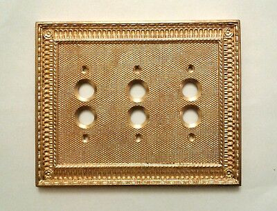 New  3 - Gang  Pisano  Victorian  Style  Push  Button  Brass  Switch  Plate