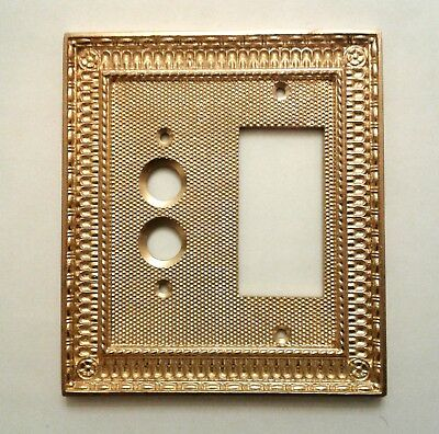 New  2- Gang  Victorian  Style  Push  Button  Switch / Gfi  Brass  Wall  Plate