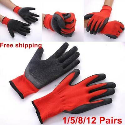 12 x Black Red Nylon PU Safety Work Gloves Builders Grip Palm Coating Gloves HOT