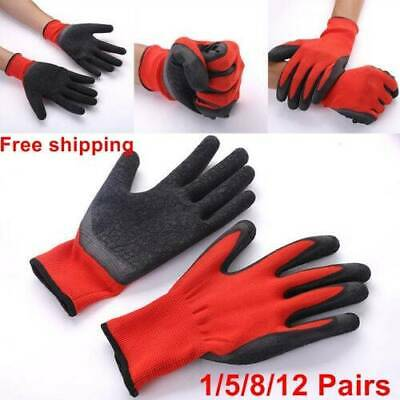 Black Red Nylon PU Safety Work Gloves Builders Grip Palm Coating Gloves 1-12x