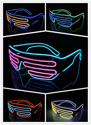 LED Party Brille El Wire Light Up Glasses Leuchtbrille Kostüm Neon Partybrille