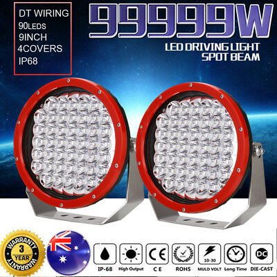 99999W 9inch CREE LED Driving Lights Spotlights Offroad 4X4 HID Red Round Work