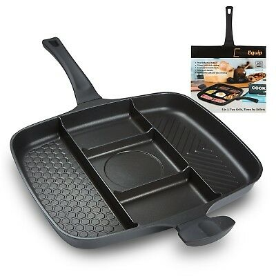 5 in 1 Divided Sectional Grill Pan  Non Stick Aluminum Frying SKillet  Double...