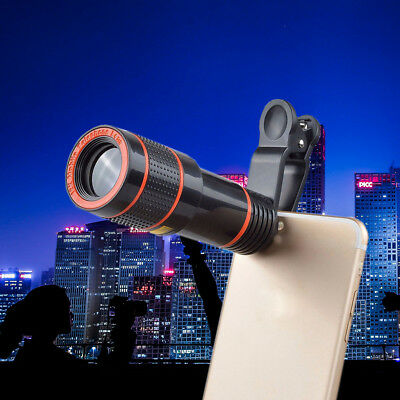 Clip-on 12x Optical Zoom HD Telescope Camera Lens For Universal Mobile Phone、UK