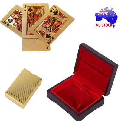 24K Gold Plated Poker Waterproof Playing Cards With Wooden Box Christmas Gift SN