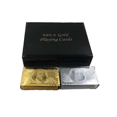 Set Of 2 $100 Gold & Silver Poker Playing Cards Deck Regular With Wooden Box SN