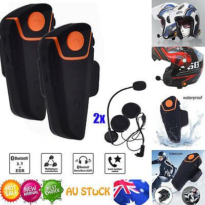 2x Helmet Intercom Bluetooth Interphone Motorcycle Headset Comunication+FM 1000M