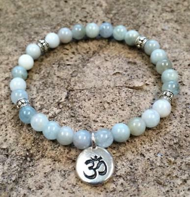 Natural stone Aquamarine Women Charm Bracelet Yoga Beads Mala Lotus Pendant
