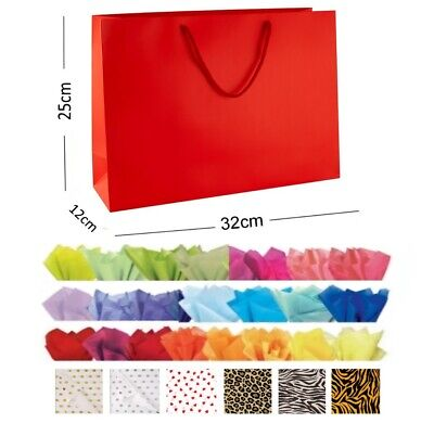 Red Glossy Landscape Boutique Shop Gift Bags Strong Shiny Gloss Bag & Tissue