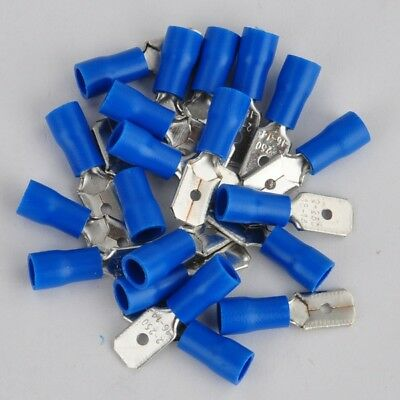 Blue 14-16 AWG Insulated Male Spade Electrical Wire Terminal Connector 20pcs New