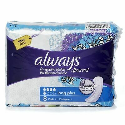Always Discreet Long Plus - 8 Pads 1 2 3 6 12 Packs