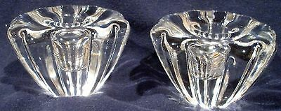Pair Of Orrefors Candlestick Holders 2 1/4 tall