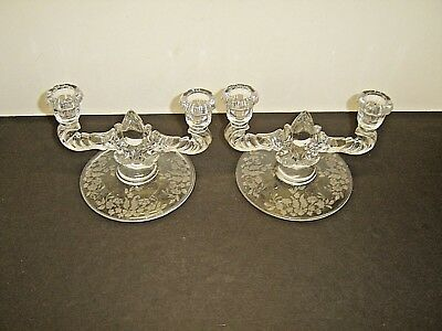 Pair New Martinsville Elegant Meadow Wreath Double Light Etched Candle Holders