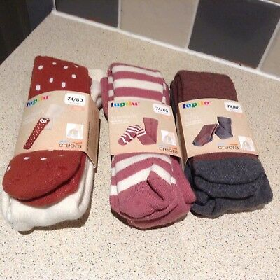 Brand New 3 Pairs Of Baby Girl Tights Size 6-12 Months