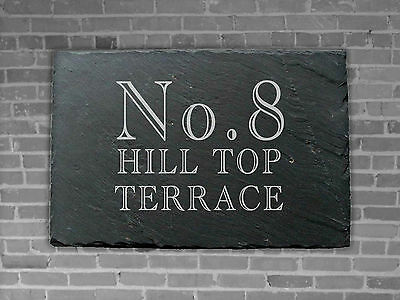 Slate House Gate Sign Plaque Door Number Personalised Name Plate 30cm x 20cm