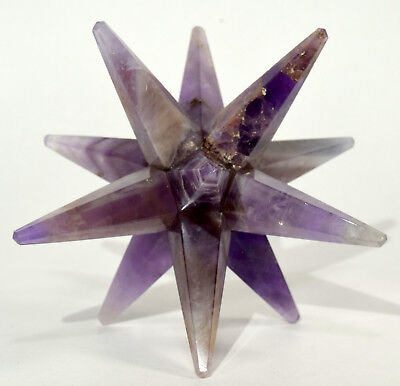 "3.1"" Purple Amethyst 12 Point Merkaba Star Natural Mineral Hand Made Stone India"