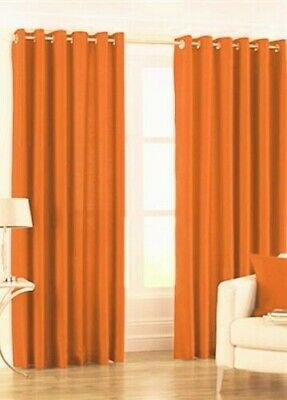 ORANGE Pair Of Plain Eyelet Curtains BLACKOUT/ DIM OUT regular ,and extra wide
