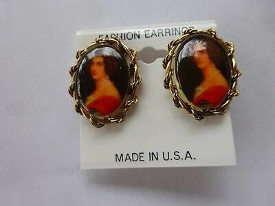 Vtg Aged  Brass Cameo Style Pretty Woman Clip On Earrings New Old Stock USA