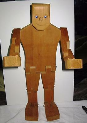 RARE POSEABLE WOOD / WOODEN LARGE HANDCRAFTED ROBOT SITS - HEADSTANDS or TABLE
