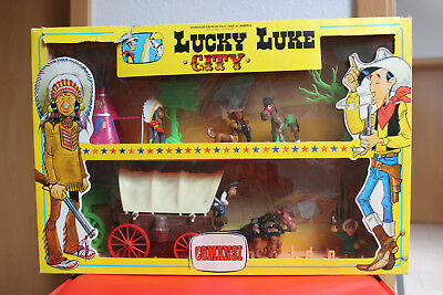 Lucky Luke City, Planwagen, Räder rot, Comansi Blister Set 1985, Dargaud, RAR