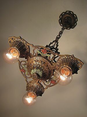 CLASSIC! Restored Antique 1930s Virden Winthrop 3 Light Fixture PAIR Available!!