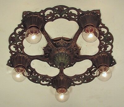 CLASSIC! Antique 1930s Virden Winthrop Flush Mount Light Fixture PAIR 2 AVAIL.!