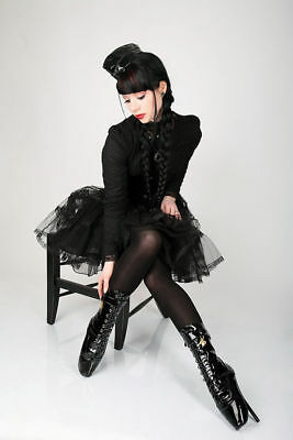 Sexy Patent Ballet High Heels Gothic Ankle Boots Fetish Transvestite Gays 36-46