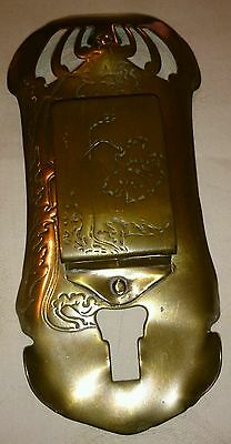 Antique German Art Nouveau Ges.Gesch Brass wall match box holder, c1900