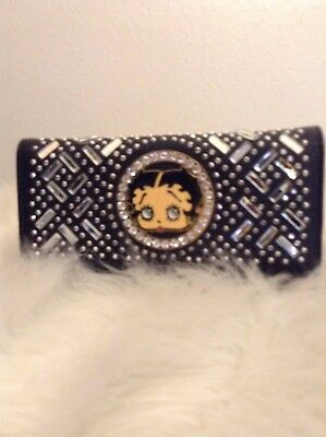 NWOT Betty Boop Wallet Black with Clear Stones Back Zip Up Pocket