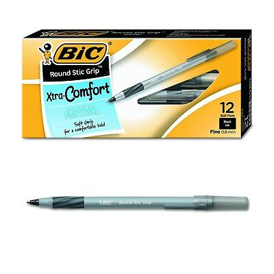 12 Pack Ballpoint Pen Black Ink 0.8mm Fine point Writing School Office Supplies
