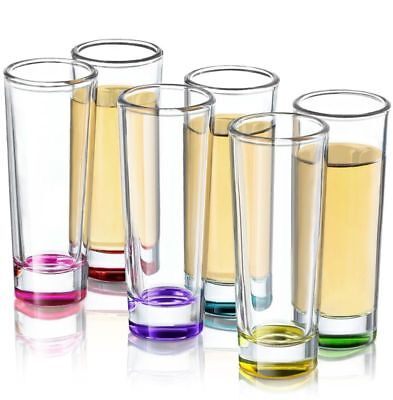 6 Set Hue Colored Shot Glass Liquor Tequila Cocktails Party Drinks For Adults