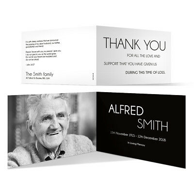 Personalised Funeral Bereavement Thank You Cards Memorial - Black and White
